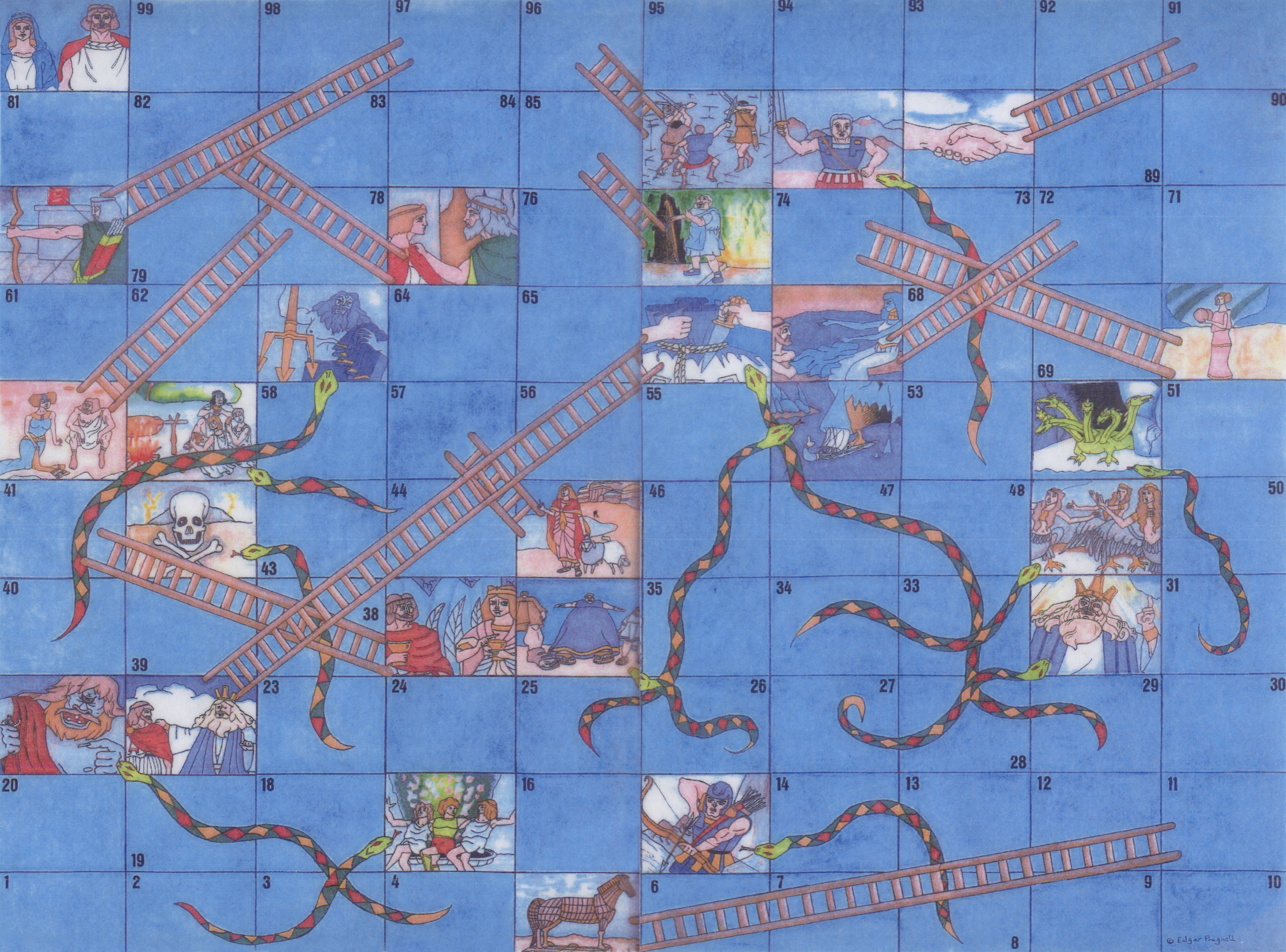 The Odyssey Snakes and Ladders Game available in Latin, English and Classical or Modern Greek